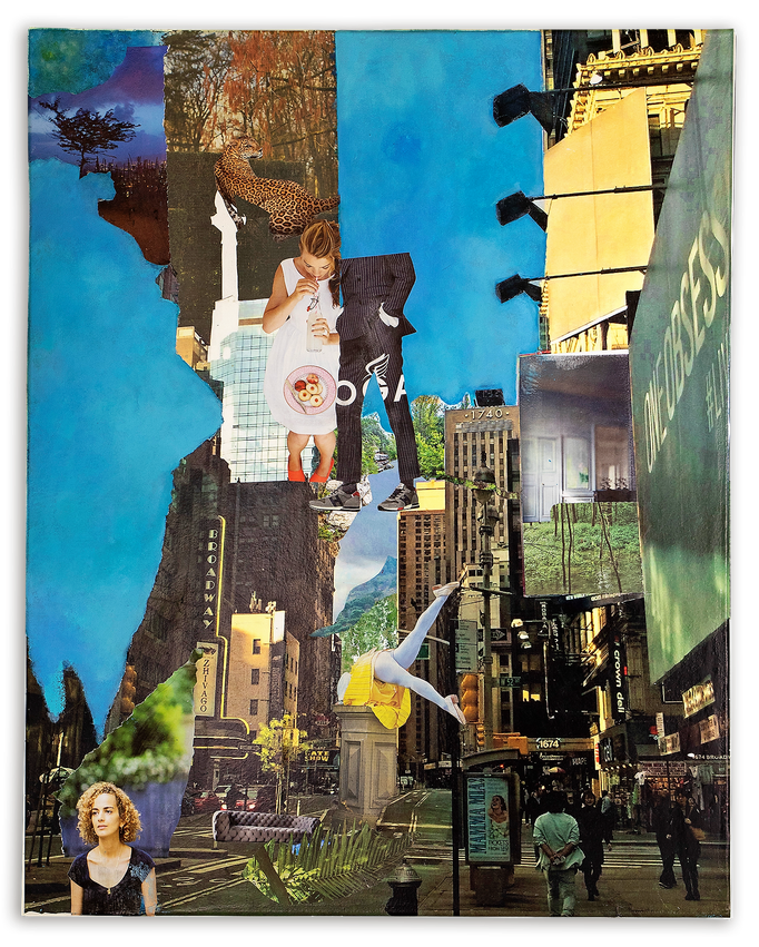 WHEN I`AM IN NYC, Collage auf Leinwand 80 cm x 100 cm