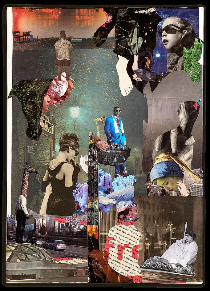 NIGHT ON EARTH, Collage auf Leinwand 50 cm x 70 cm