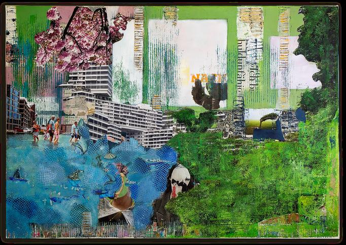 KEEP GOING II,  Collage auf Leinwand 100 cm x 70 cm