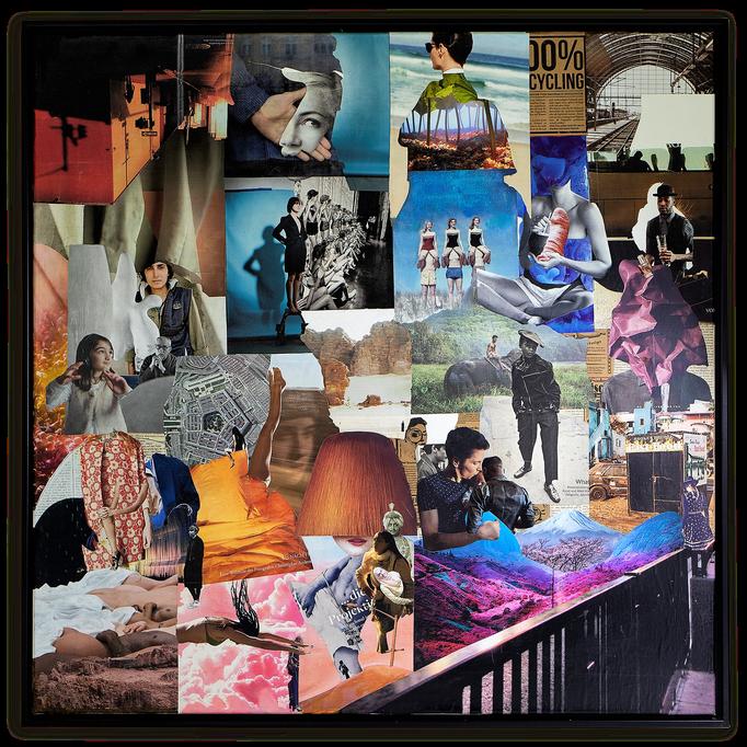 DON`T TELL ME, Collage auf Leinwand  100 cm x 100 cm mit Schattenfugenrahmen