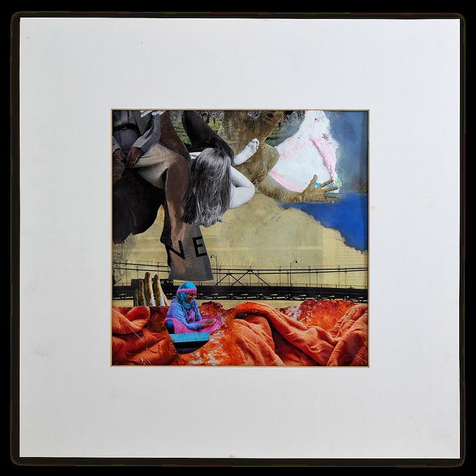 DON`T WAIT,  Collage auf Papier 52 cm x 52 cm mit Rahmung