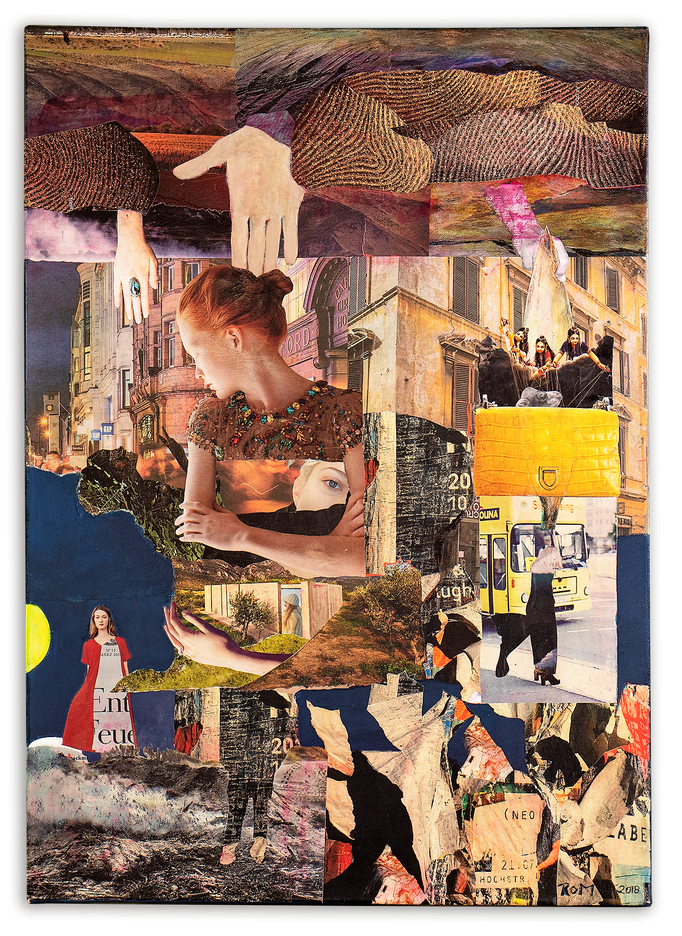 WALLS, Collage auf Leinwand 50 cm x 70 cm