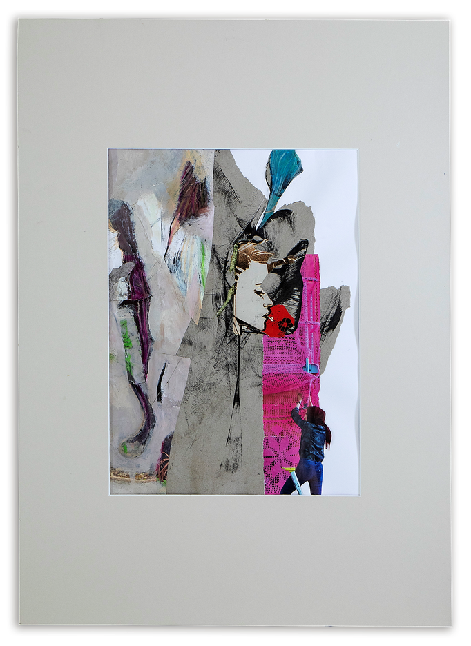 LIFE, Life is not about finding yourself, but about creating yourself (G. B. Shaw), Collage auf Papier 52 cm x 72 cm