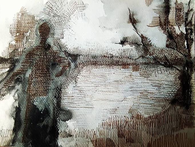 MAN IN LANDSCHAP, vetkrijt, contékrijt, inkt en fijnliner-op papier ca 30 bij 25 cm.