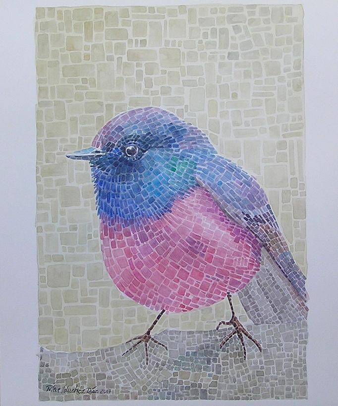 """""""Pájaro mosaico"""" 29x42cm"""