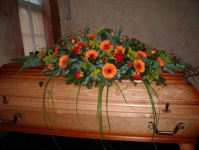 Trauer Sargschmuck orange
