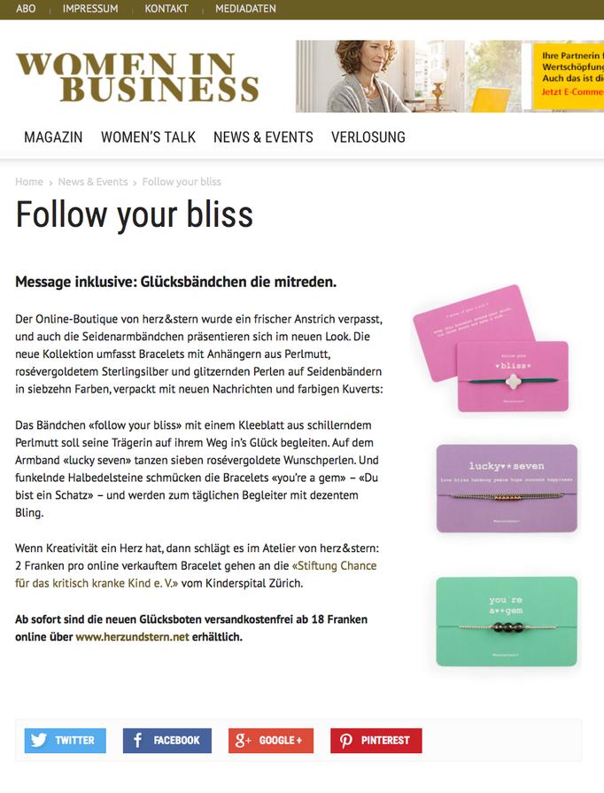 herz&stern - women in business online, Glücksbändchen