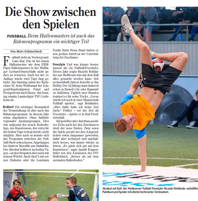 Zeitung Ricardo Rehländer Freestyle Football