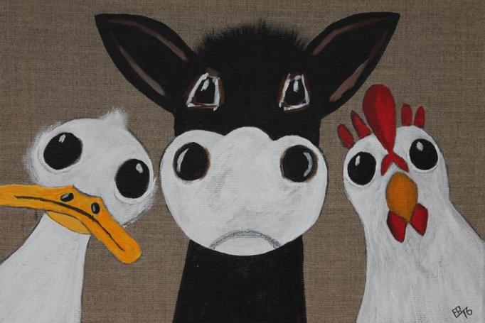 fertig gestellt 2016 - Titel: Ente Kuh Huhn - Format 30 x 40 cm - 75,00 € - verkauft - Anfertigung auf Bestellung