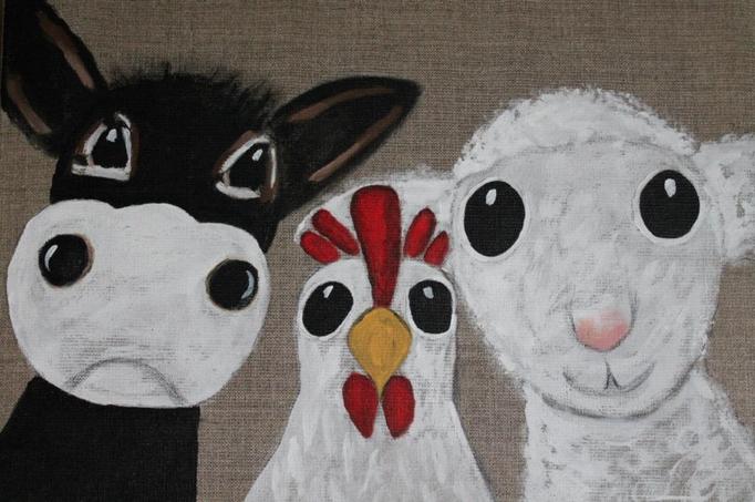 fertig gestellt 2016 - Titel: Kuh Huhn Schaf - Format 30 x 40 cm - 75,00 € - verkauft - Anfertigung auf Bestellung