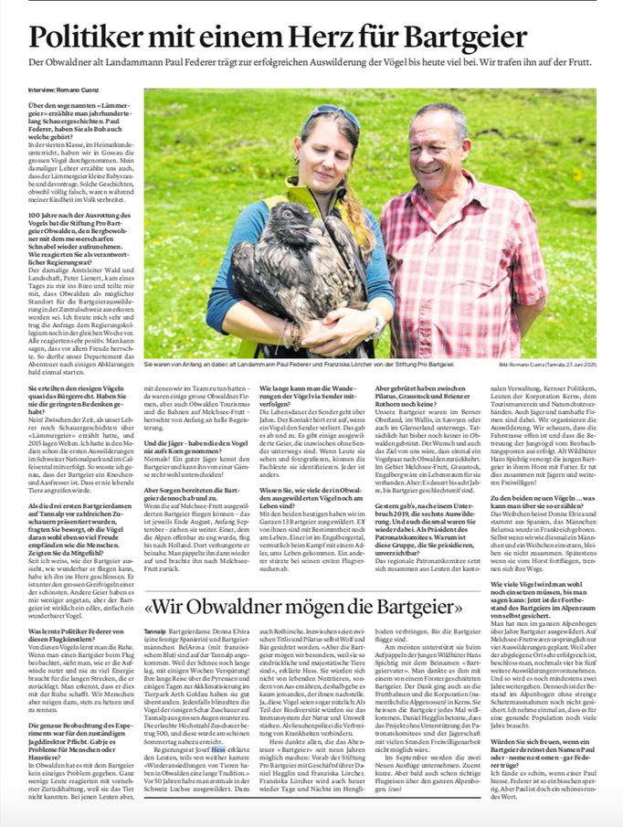Obwaldner Zeitung vom 28.06.2021
