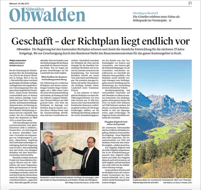 Obwaldner Zeitung vom 29.05.19