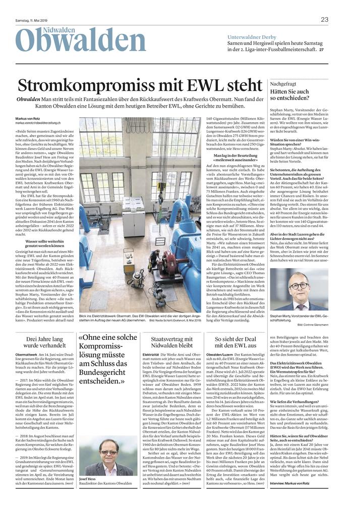 Obwaldner Zeitung vom 11.05.19