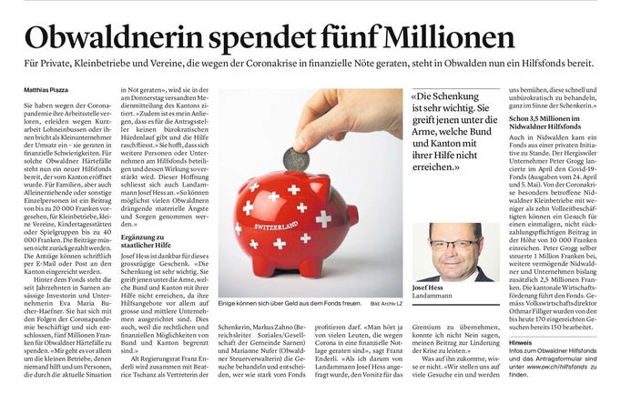 Obwaldner Zeitung vom 15.05.2020
