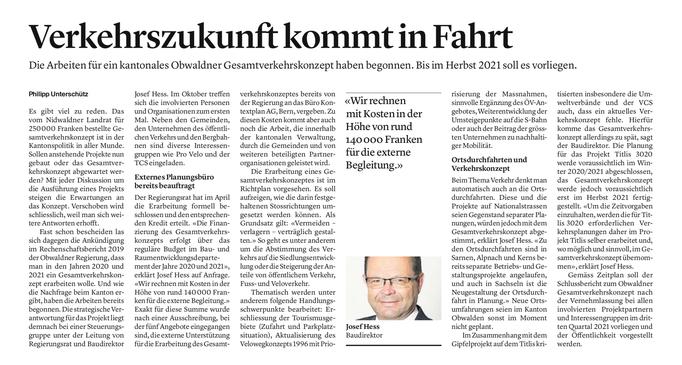 Obwaldner Zeitung vom 10.09.2020