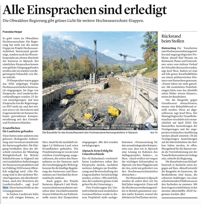 Obwaldner Zeitung vom 09.11.2019