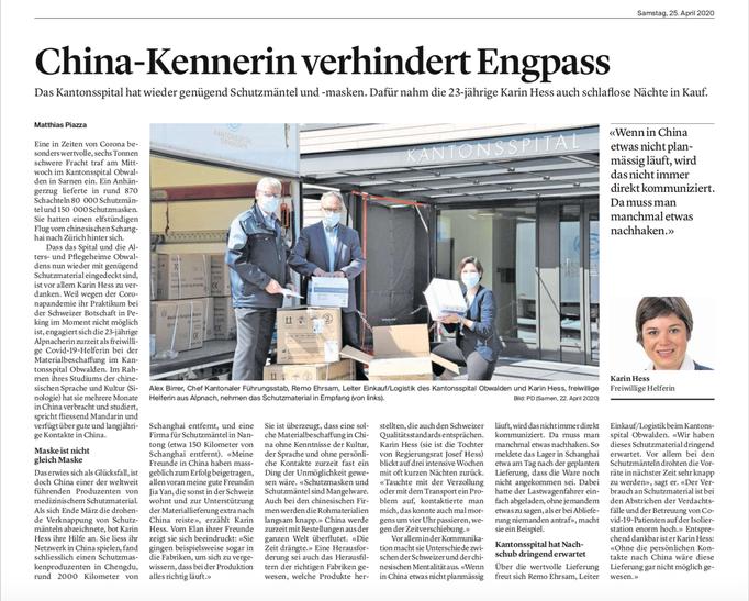 Obwaldner Zeitung vom 25.04.2020