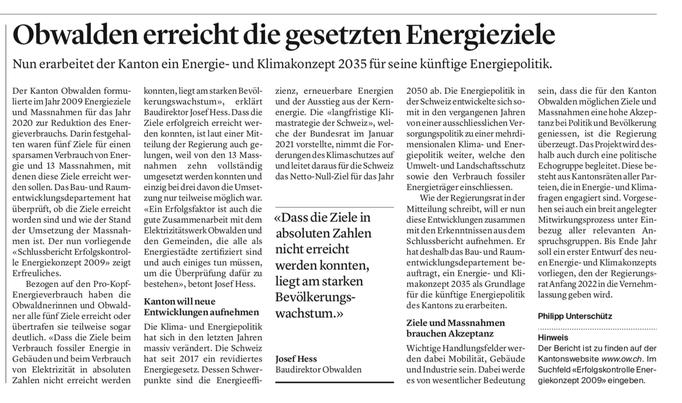 Obwaldner Zeitung vom 01.05.2021