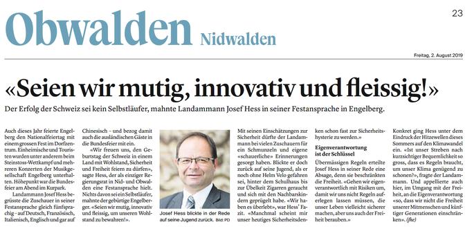 Obwaldner Zeitung vom 02.08.19