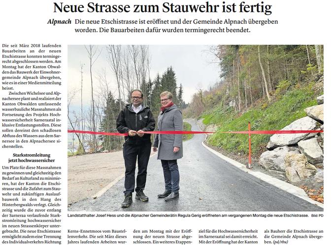 Obwaldner Zeitung vom 22.11.18