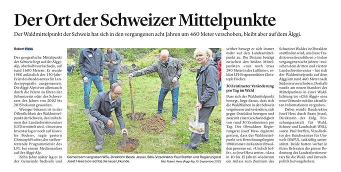 Obwaldner Zeitung vom 11.09.2021, Video-Bericht: https://www.tele1.ch/nachrichten/der-wald-breitet-sich-wieder-in-den-alpen-aus-143705190
