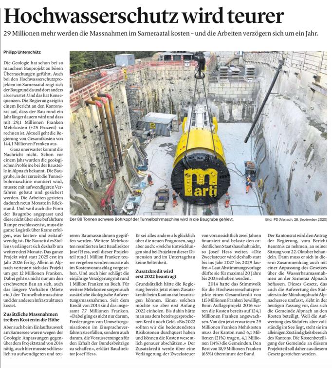 Obwaldner Zeitung vom 30.09.2020