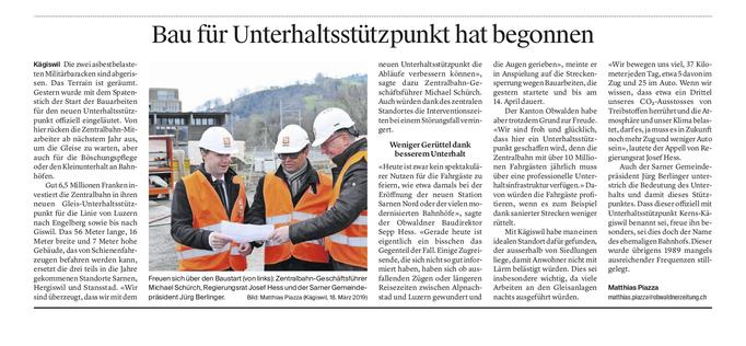 Obwaldner Zeitung vom 19.03.19
