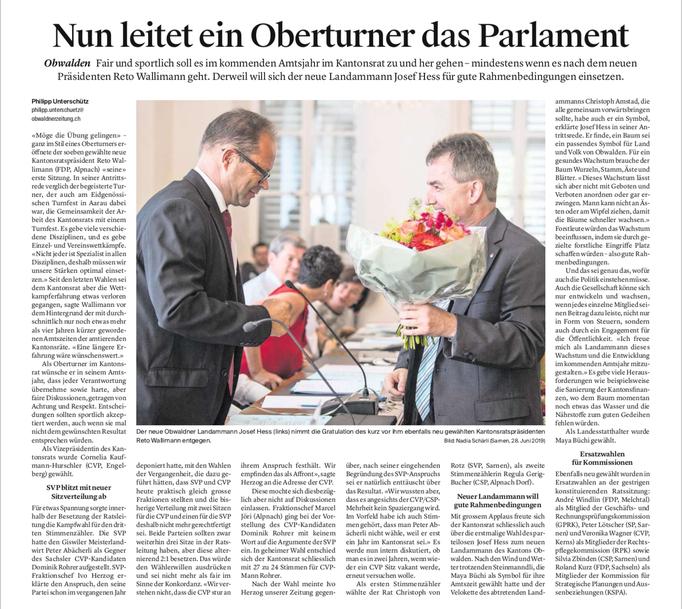 Obwaldner Zeitung vom 28.06.19