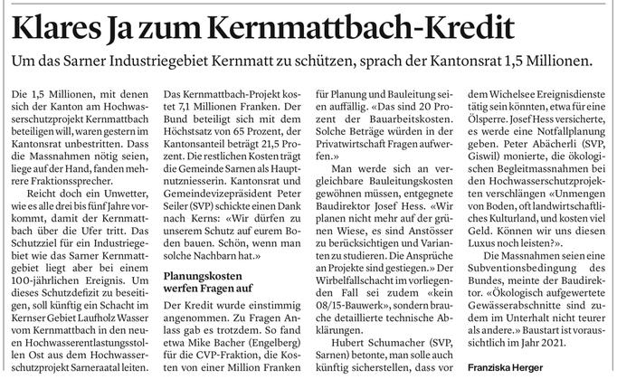 Obwaldner Zeitung vom 13.09.2019