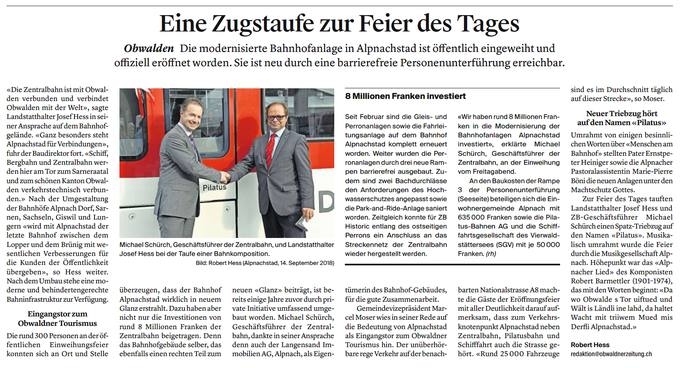 Obwaldner Zeitung vom 17.09.18