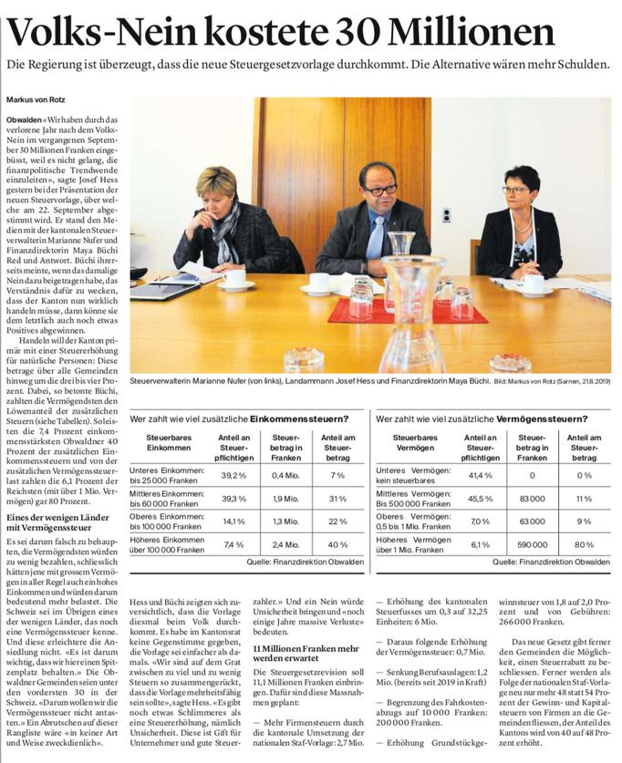 Obwaldner Zeitung vom 22.08.19