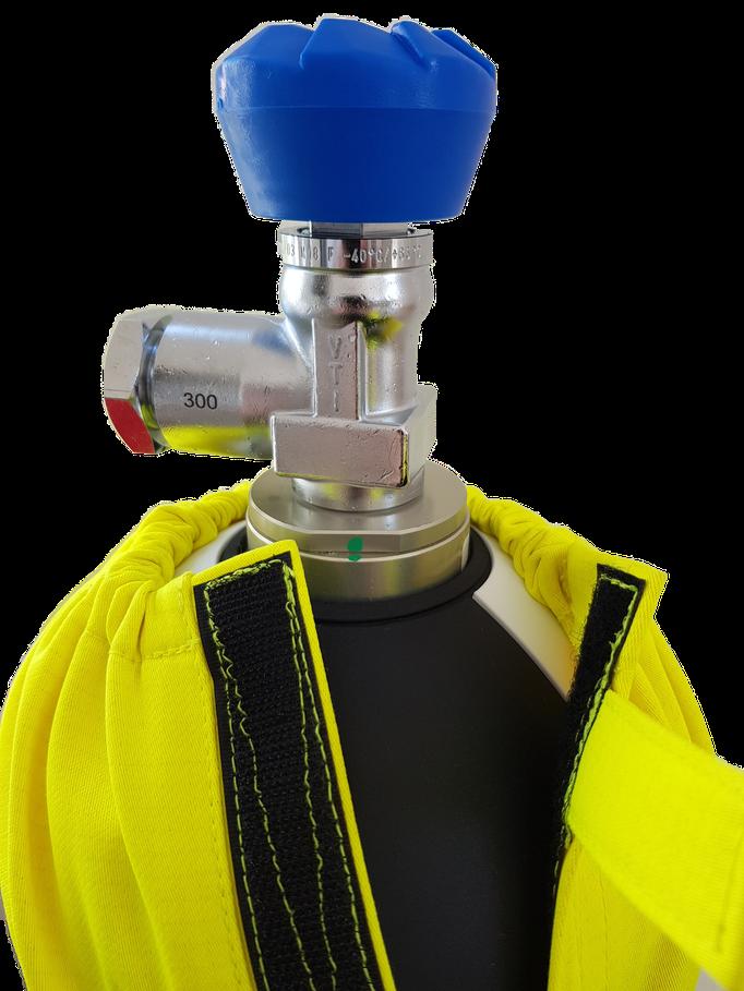 CFK Atemluftflasche mit Schutzhülle Klettverschluss