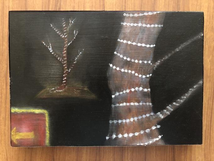 「イルミネーション」 油彩、パネルにミュー・グラウンド 15.8×22.7cm 2019