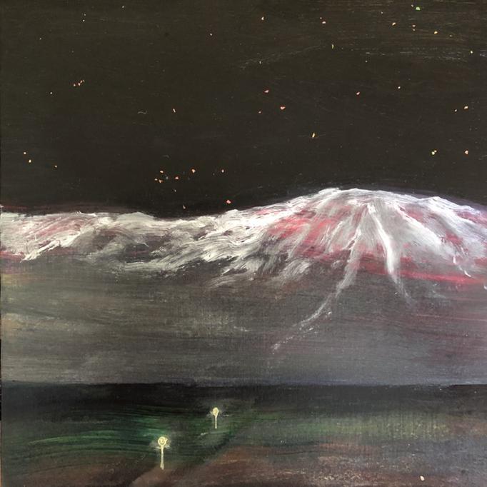「ピンネシリ」 油彩、アクリル、ラメ、パネルにミュー・グラウンド 22.7×22.7cm 2019