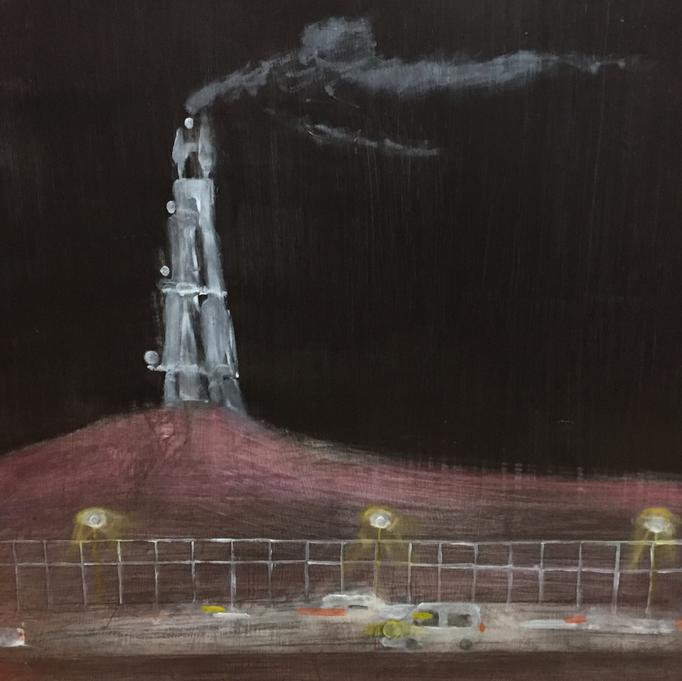 「夜」 油彩、パネルにミュー・グラウンド 53.0×53.0cm 2018