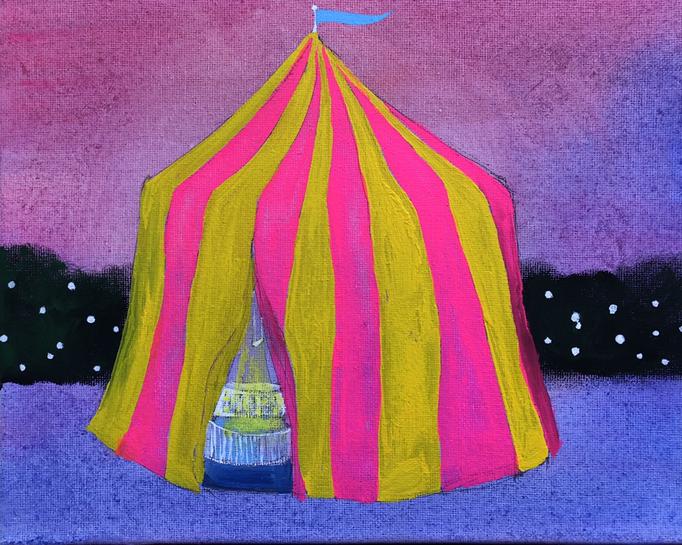 「サーカス」 アクリルガッシュ、キャンバス 22.0×27.3cm 2019
