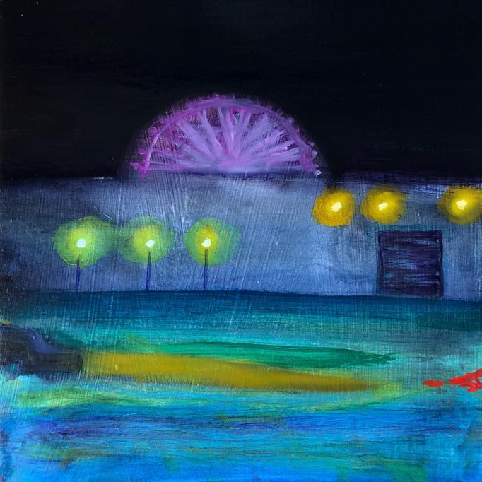 「首都高」 油彩、アクリル、パネルにミュー・グラウンド 22.7×22.7cm 2019