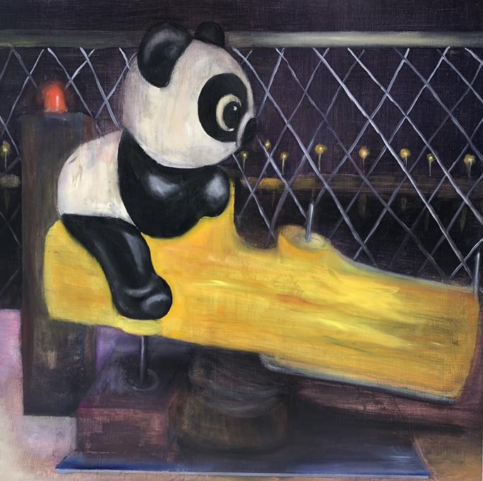 「あそぼうよ」 油彩、パネルにミュー・グラウンド 91.0×91.0cm 2019