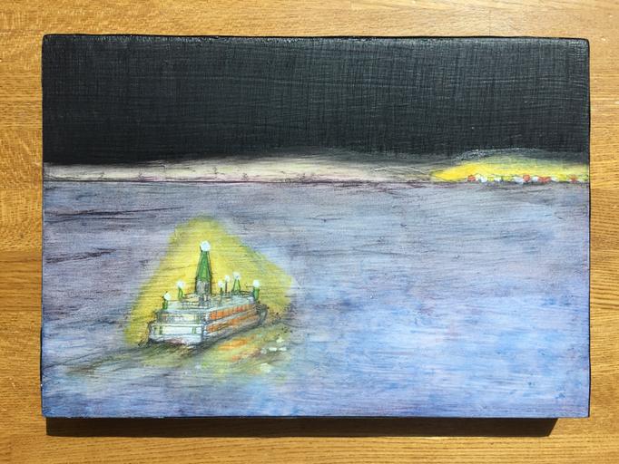 「あの街へ」 油彩、パネルにミュー・グラウンド 15.8×22.7cm 2018