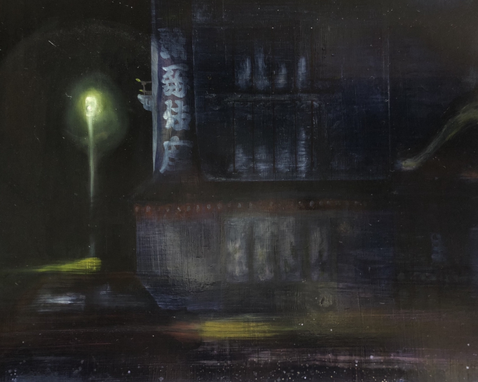 「銀座」 油彩、アクリル、パネルにミュー・グラウンド 60.6×72.7cm 2019