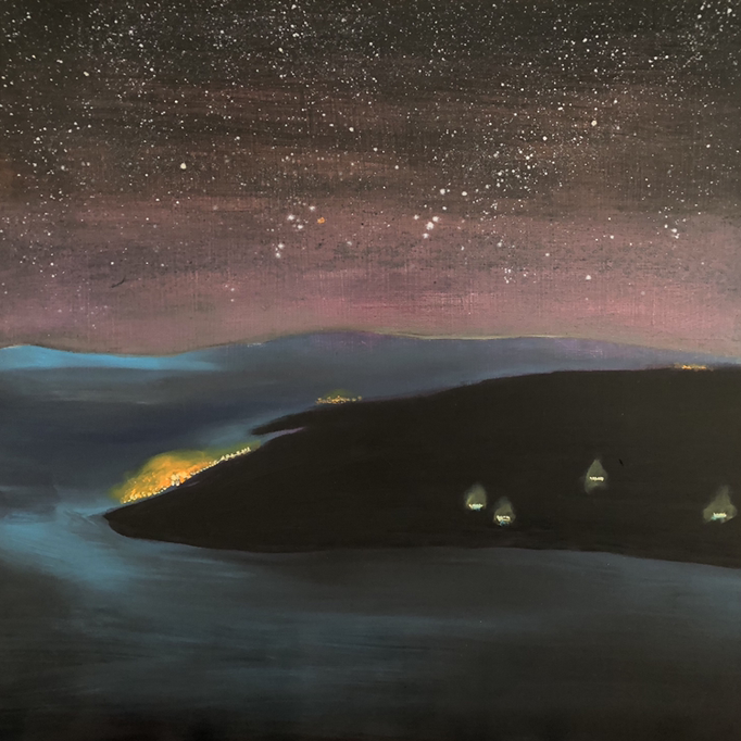 「内浦湾」 油彩、アクリル、パネルにミュー・グラウンド 53.0×53.0cm 2019