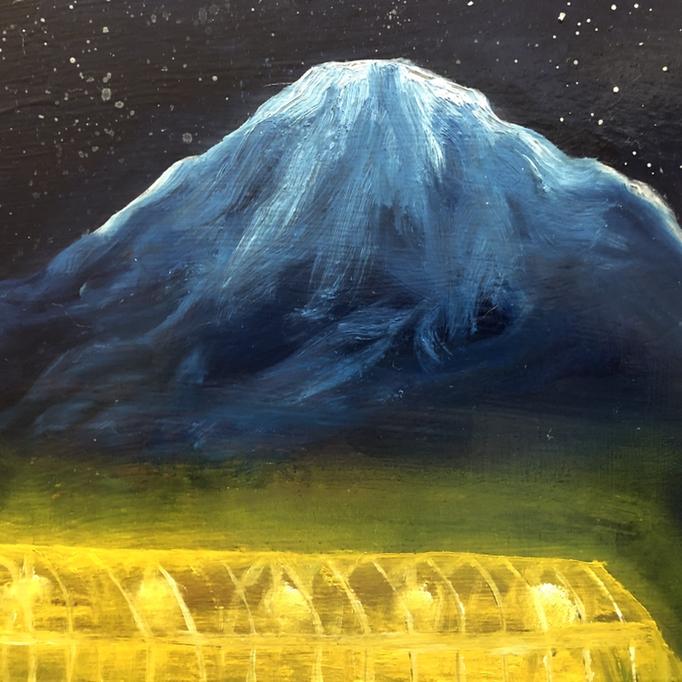 「倶知安」 油彩、アクリル、パネルにミュー・グラウンド 22.7×22.7cm 2019