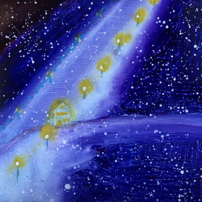 「Mt.Kamoi」 油彩、アクリル、パネルにミュー・グラウンド 22.7×22.7cm 2019