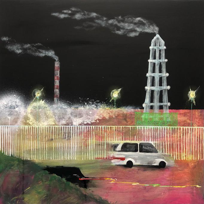 「煌めく」 アクリル、パネルにミュー・グラウンド 65.2×65.2㎝ 2020