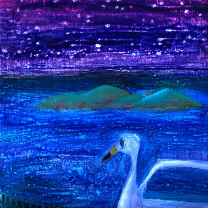 「洞爺湖」 油彩、アクリル、パネルにミュー・グラウンド 22.7×22.7cm 2019