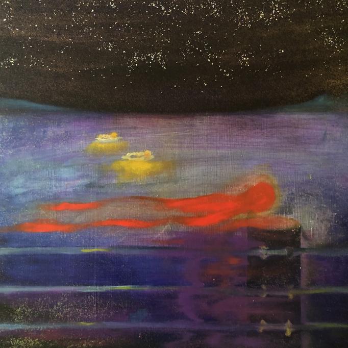 「函館へ」 油彩、アクリル、ラメ、パネルにミュー・グラウンド 53.0×53.0cm 2019