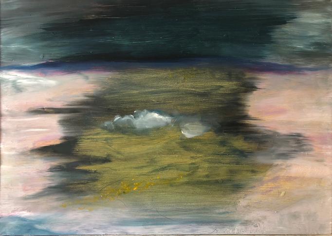 「飛行機の目」 油彩、アクリル、パネルにミュー・グラウンド 42.0×29.7cm 2019