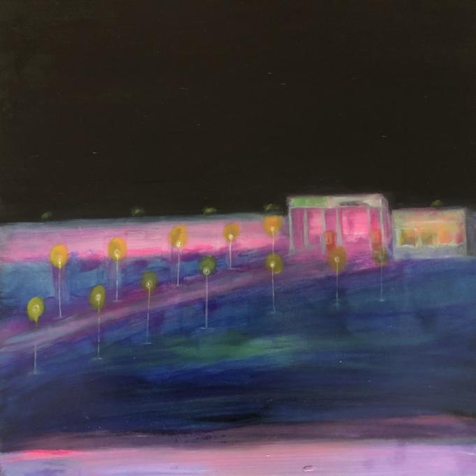 「ハイウェイ」 油彩、アクリル、パネルにミュー・グラウンド 53.0×53.0cm 2019