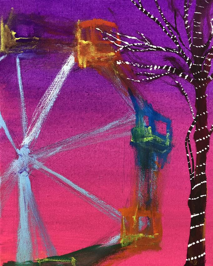 「観覧車」 アクリルガッシュ、キャンバス 27.3×22.0cm 2019