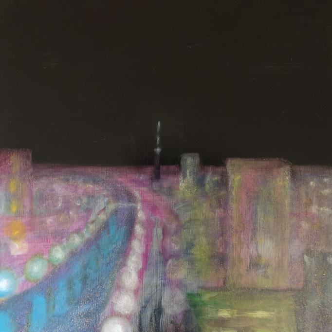「東京」 油彩、アクリル、パネルにミュー・グラウンド 53.0×53.0cm 2019